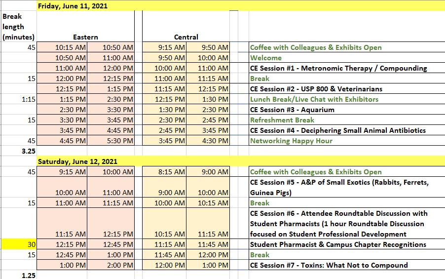Exhibitor Schedule